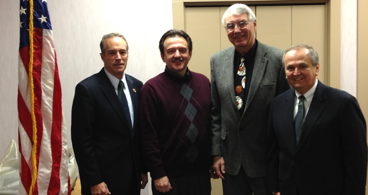 L-R: Congressman Chris Collins with Delphi retirees John Benoit and Rick Strusienski, and New York State Sen. George Maziarz.